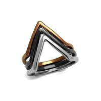 IP Three Tone Brown, Black and Silver Stainless Steel Rings