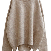 Oversized Beige Loose Sweater