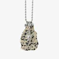 Dalmatian Big Raw Stone Slice Necklace with Turtle Charm and Hematite Beads