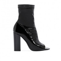 VIANNA PEEPTOE ANKLE BOOTS IN BLACK PATENT