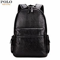 Preppy Style Leather School Backpack Bag For College Simple Design Men Casual Daypacks