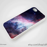 Space iPhone 5 4 4S Case Galaxy Hubble Nebula Pink Blue Galactic Silicone