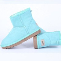 UGG Women male Fashion Wool Snow Boots Sapphire blue