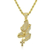 Goldtone Iced Out Praying Hand Pendant with a 30 Inch Rope Chain Necklace