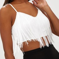 White Tassel Trim Crop Top