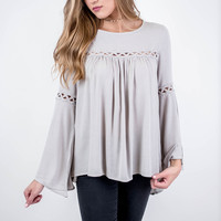 Grey Cut Out Bell Sleeve Tunic