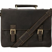 Visconti Berlin (18716) Leather Twin Buckle Briefcase with Detachable Strap