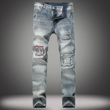 Jeans Ripped Holes Stylish Straight Jeans [10366808195]