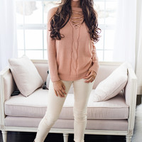 Sunset Touch Cold Shoulder Knit Top (Blush)