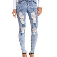 High-Waisted Destroyed Acid Wash Skinny Jeans - Med Acid Wash