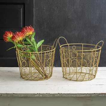 Set of Two Gold Rustic Wire Baskets