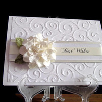 Best Wishes Wedding Card with White Paper Flower