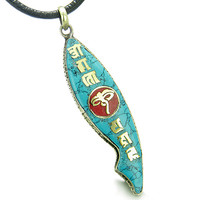 Amulet Ancient Tibetan All Seeing Buddha Eye Mantra Om Mani Padme Hum Fish Shape Tag Pendant Necklace