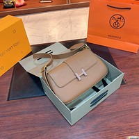 Hermes Women's Tote Bag Handbag Shopping Leather Tote Crossbody Satchel