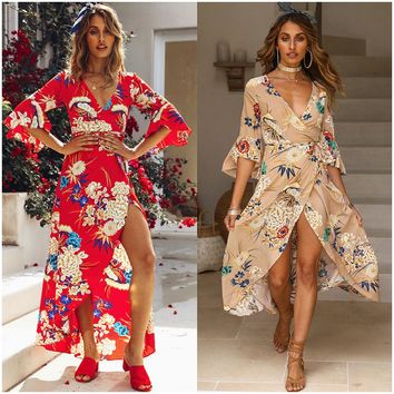 2019 spring and summer new dress V-neck trumpet sleeve printing Bohemian strap dress women's clothing