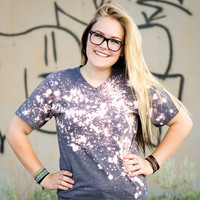 Grunge Bleach V-neck Tee Shirt - Grey, Heathered, Vintage Soft, Relaxed fit, splattered, galaxy
