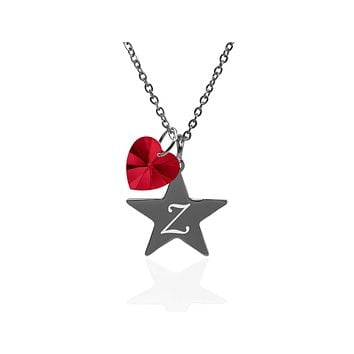 Pink Box Dainty Star Initial Necklace Made With Crystals From Swarovski