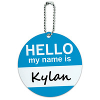 Kylan Hello My Name Is Round ID Card Luggage Tag