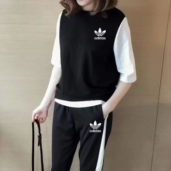 """Adidas"" Women Casual Middle Sleeve Sleeveless Vest Multicolor Trousers Set Three-Piece Sportswear"