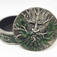 EXQUISITE FOREST GREENMAN FOLKLORE ROUND JEWELRY BOX RESIN FIGURINE
