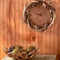 Antler Home Decor Wall Clock or Bowl Lodge Cabin Country Primitive