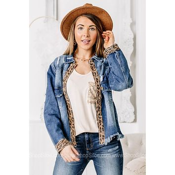 Cactus Queen Suede Detailed Denim Jacket