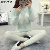 YiZiKKCO Brand Pullovers Sweaters Women 2017 New Winter O-Neck Candy Warm comfort Slim Pullovers Pull Femme jumpers sweter mujer