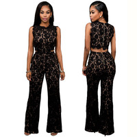 Sleeveless Top Bell-bottom Pants Sexy Lace Two Pieces Set