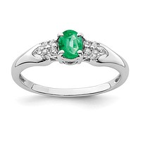 Sterling Silver Oval Genuine Emerald And White Sapphire Ring
