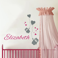 Owl Wall Decal Name Vinyl Sticker Personalized Custom Name Balloon Heart Decals Children Kids Baby Name Girls Nursery Boys Room Decor AN686