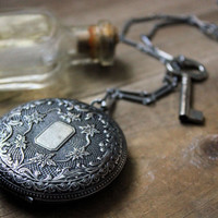 Locket of Laudanum. Antiqued Silver Perfume Locket Necklace.