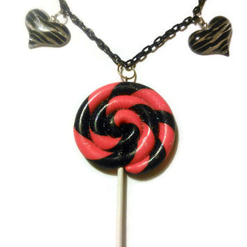 Gorgeous Hot Pink and Black Giant Lollipop Necklace with Zebra Heart Cabochons Kawaii Decoden Lolita