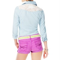 Long Sleeve Lace Yoke Chambray Woven Shirt -