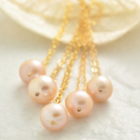 Bridesmaid Gift Set of 2 to 10, pink pearl necklace, matching necklace, set of 2 3 4 5, set of 6 7 8 9 10, bridesmaid jewelry, BR