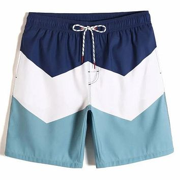 Fashion Casual Men Colorblock Drawstring Waist Swim Trunks