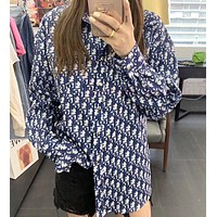 Dior New fashion more letter long sleeve coat shirt women Blue
