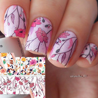 2016 Born Pretty Flower Nail Sticker Water Decals Nail Art Water Transfer Stickers for Nails BP-W04 2 Patterns/Sheet