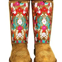 Boho Floral Embroidered Rhinestone Shearling Lined Boots