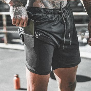 Men's Double Decker Quick Dry Shorts With Inner Cell Phone Pocket