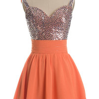 Sweetheart orange sequin chiffon mini short prom dress cocktail dress bridesmaid dress party dress homecoming dress 2014