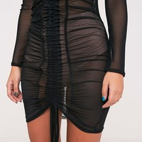 Lianna Mesh Ruched Black Bodycon Dress