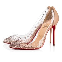 Christian Louboutin Cl Degrastrass Pvc lea Nue Lea Nude 1 Strass 18s Bridal 1181081n015