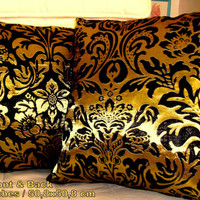 """Set of two 20"""" pillows – Elegant black gold floral cover"""