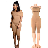 Folded Shoulder Body-con Jumpsuits