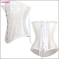 FeelinGirl Sexy White Lace Up Closure Overbust Waist Cincher Women Corset Top Bustier Body Shaper Ventilate Embossing Floral Pattern Hook Eyes Corselet = 1696615876