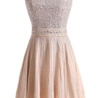 Sunvary Champagne Chiffon and Sequin Short Prom Gowns Evening Dresses