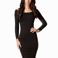 Black Long Sleeve Backless with Mesh Cut-Out Bodycon Midi Dress