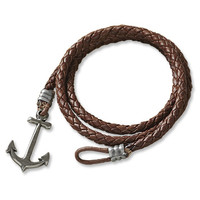 Leather-and-Anchor Bracelet