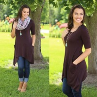 Perfect Pockets Tunic in Brown