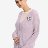 Lavender No Thanks Girls Cardigan